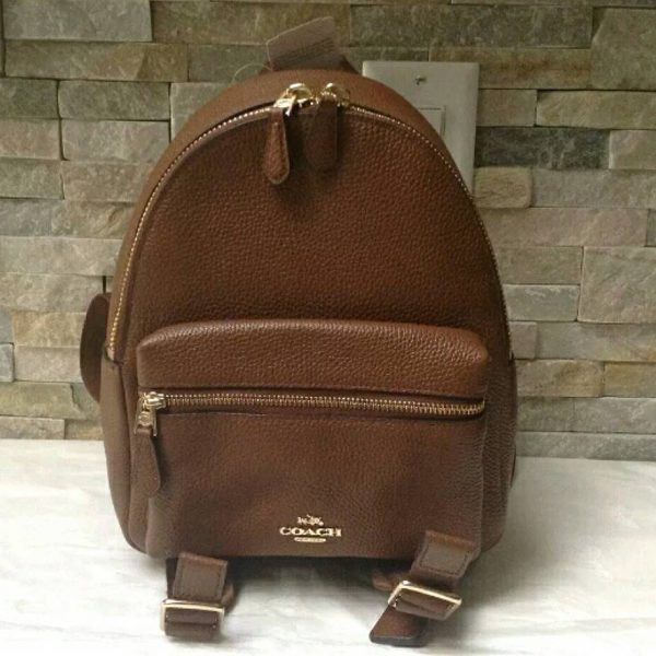 wholesale sales good looking huge sale F38263 MINI CHARLIE BACKPACK IN PEBBLE LEATHER
