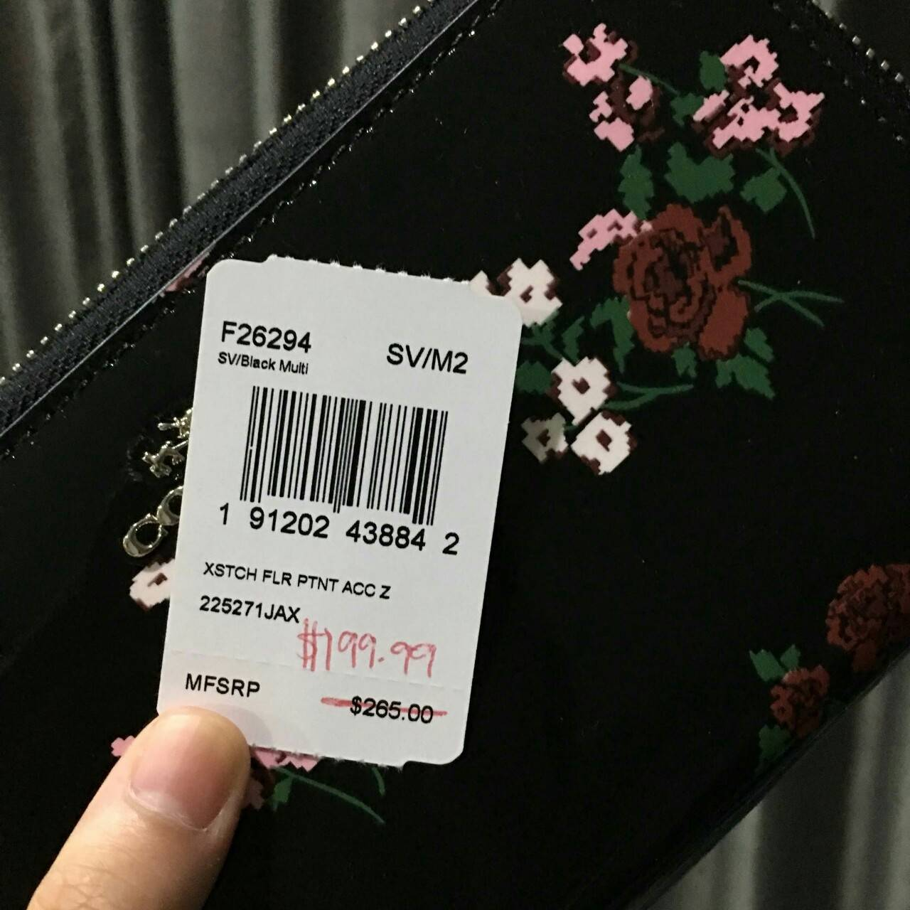 best loved 573ca 484c9 Coach F26294 Cross Stitch Floral Print Patent Leather Accordion Zip Wallet